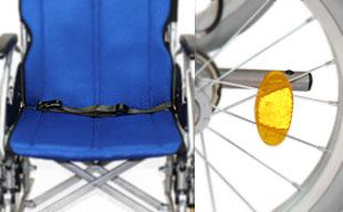 介助式車椅子ハピネスワイド CA-25SU 安全ベルト・反射板