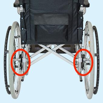 車椅子のドラムブレーキの調整位置