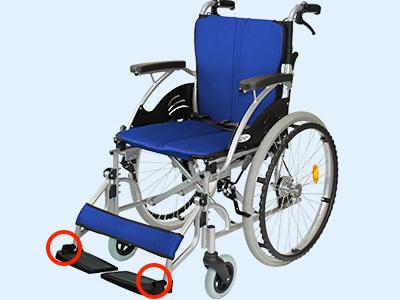 車椅子のフットサポートの固さ調整位置