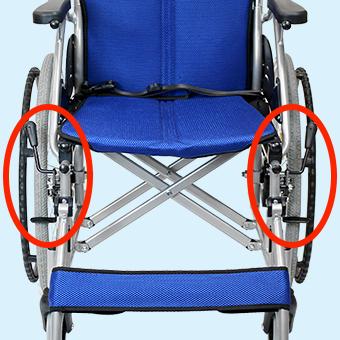 車椅子の駐車ブレーキの調整位置