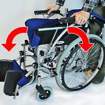 駐車ブレーキ後に車椅子を拡げる