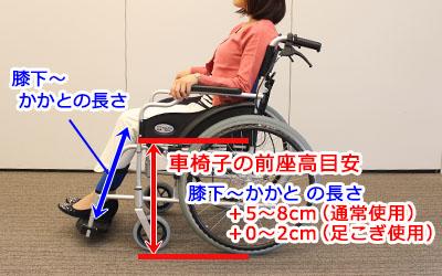 車椅子の前座高目安の決め方1